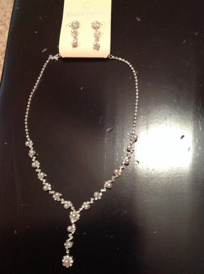 david 39 s bridal silver pearl necklace and earrings set