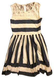 Mystic short dress blue and white lace striped on Tradesy