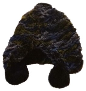 Other Real Rex Rabbit Multi Colored Hat With Pom Poms
