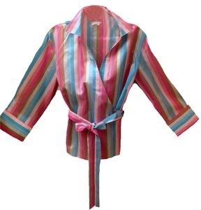 GERARD DAREL Wrap Silk 3/4 Length Sleeves Top multi-colored stripes