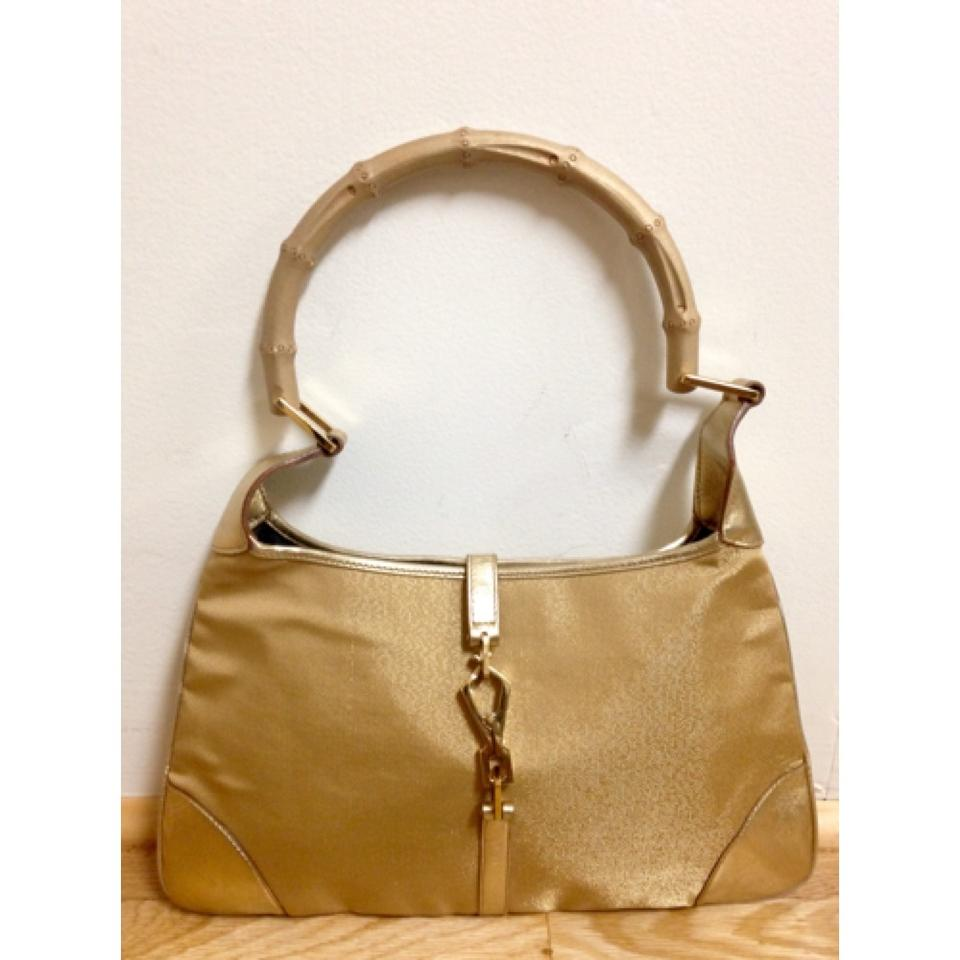 37e855fa5624 Gucci Jackie O Golden Canvas and Leather Bamboo Handle Hobo Bag ...