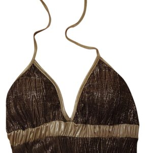 Ginseng Brown & Gold Halter Top