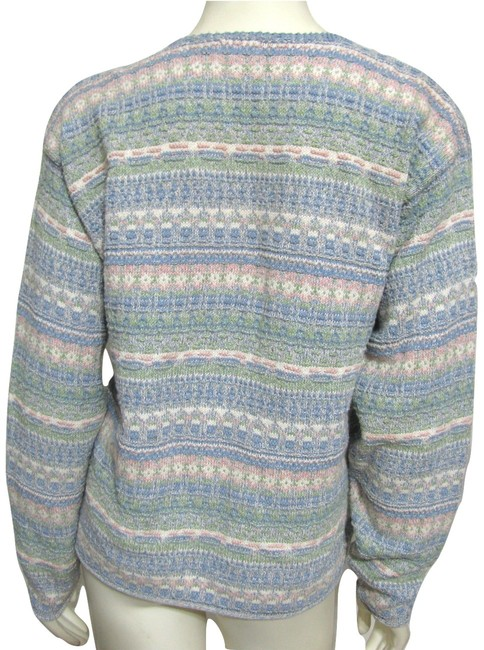 Alps Knit Sweater Green Purple Beige Nordic Made In Usa Women M Medium 8 10 Aztec Cotton Bird Buttoned Pewter Silver Cardigan Image 1
