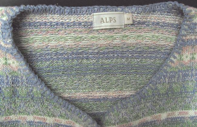 Alps Knit Sweater Green Purple Beige Nordic Made In Usa Women M Medium 8 10 Aztec Cotton Bird Buttoned Pewter Silver Cardigan Image 2