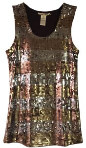Alice + Olivia Top Bronze and silver sequins w/ brown lining