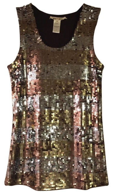 Item - Bronze and Silver Sequins W/ Brown Lining Top