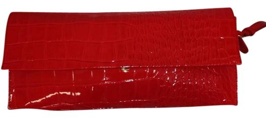 Franchi Leather Cool Patent Leather Red Clutch