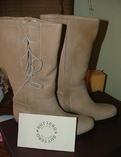 Buttero Leather Cowboy Tan Boots