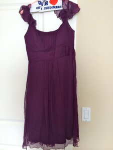 Amsale Eggplant Chiffon G550c Feminine Bridesmaid/Mob Dress Size 4 (S)