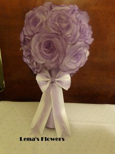 Beautiful Purple Silk Rose Bridal/bridesmaid Bouquet With White Bow