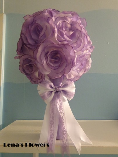 Purple and White Silk Rose Bridal/Bridesmaid Bouquet with Bow