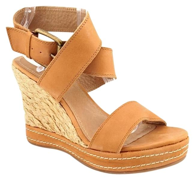 Item - Natural Vachetta Leather Criss Cross Strap Wedges Size US 7.5