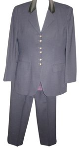 Jones New York 3 piece Jones New York Wool Navy Blue Pantsuit Grey Blouse