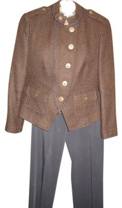 Kasper 4 piece lined pant suit Kasper Brown Tweed Jacket Blue Pants blouse sweater