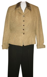 Jones New York 5 piece lined pant suit Jones Kasper 2 sheer blouses belt gold green beige