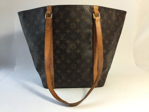 Louis Vuitton Leather Neverfull Satchel in Monogram