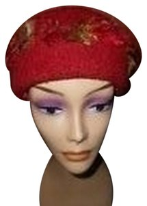 Womens Wool Dark Cranberry Red Fall Colors Artisan Winter Hat