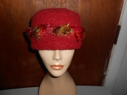 Other Womens Wool Dark Cranberry Red Fall Colors Artisan Winter Hat Image 2