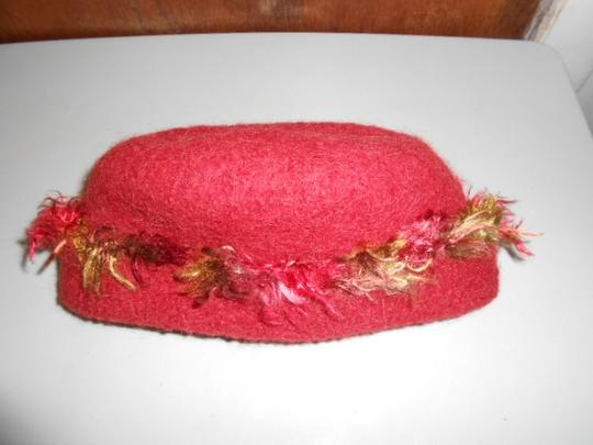 Other Womens Wool Dark Cranberry Red Fall Colors Artisan Winter Hat Image 9