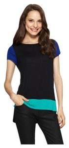 BCBG Max Azria T Shirt Black, Royal Blue & Teal