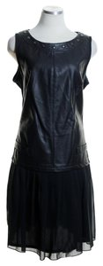 FORENZA short dress Black Faux Leather Sleeveless on Tradesy