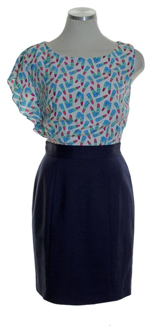 Lilly Pulitzer Blue Delila Cameo Kissy Kiss Silk One Sleeve Sheath Above Knee Short Casual Dress Size 0 (XS) Lilly Pulitzer Blue Delila Cameo Kissy Kiss Silk One Sleeve Sheath Above Knee Short Casual Dress Size 0 (XS) Image 1