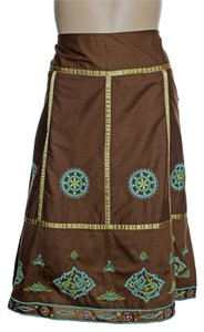 Rampage A-line Embroidered Skirt Brown