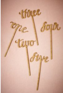 BHLDN Eco-friendly Cherry Wood Gold Script Table Numbers Centerpiece