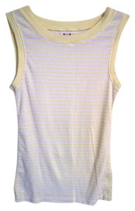 Three Dots Top Yellow and White Stripes