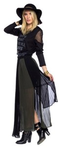 Small Indie Brand Maxi Skirt Black and Olive