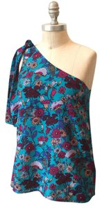 French Connection Retro Vibrant Floral Top Vibrant Blue