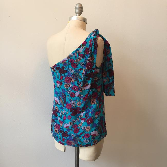 French Connection Retro Floral One-shoulder Top Vibrant Blue