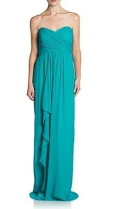 Nicole Miller Caribbean Blue Silk Sweetheart Ruffle Ruched Gown Cn0044 Formal Bridesmaid/Mob Dress Size 4 (S)