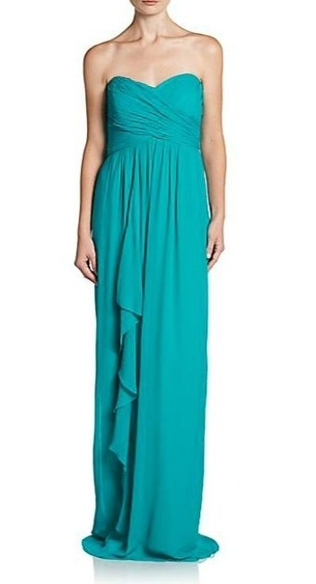 Item - Caribbean Blue Silk Sweetheart Ruffle Ruched Gown Cn0044 Formal Bridesmaid/Mob Dress Size 4 (S)