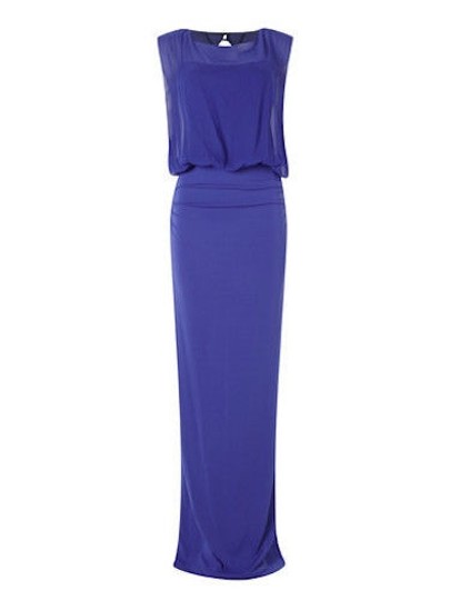 Nicole Miller Cobalt Jersey Riley Stretchy Matte Gown Br003 Formal Dress Size 4 (S)