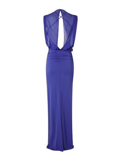 Nicole Miller Cobalt Jersey Riley Stretchy Matte Gown Br0403 Formal Bridesmaid/Mob Dress Size 4 (S)