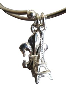 "Apt. 9 Silver plated bangle style with 2charms ""paris"" tower"