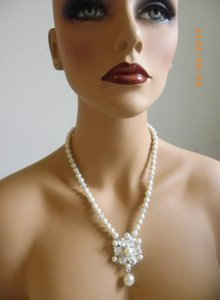 Other Bridal Pearl Necklace Victorian Bridal Necklace Wedding Necklace Ivory Glass Pearl Pearl Pendant Necklace