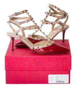 Valentino Rockstud Leather Italian Scarlet Red Patent Pumps