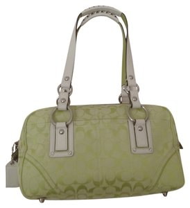 Coach Limited Edition Signature Satchel in pear (green) & white