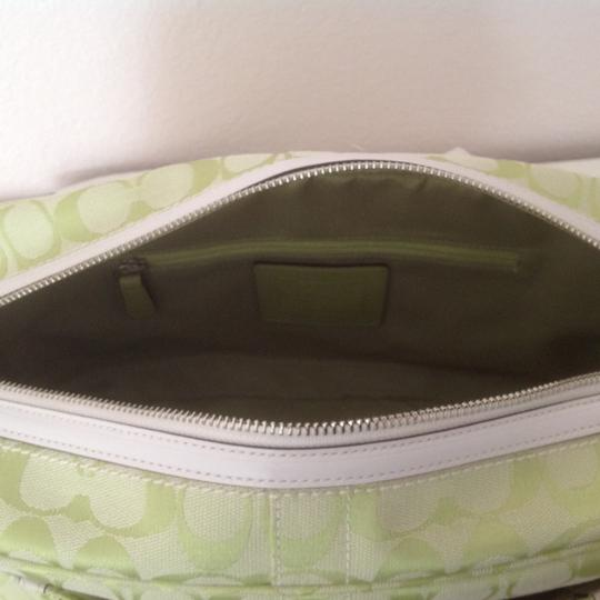 Coach Limited Edition Signature Satchel in pear (green) & white Image 2