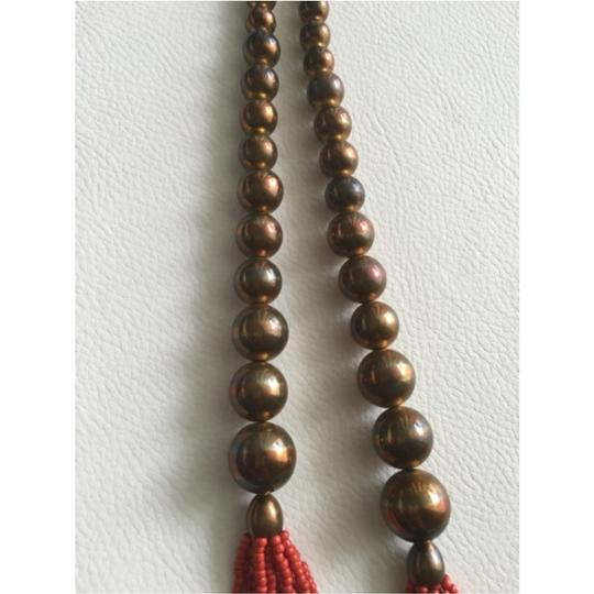 Other Bronze and Red Beaded Necklace