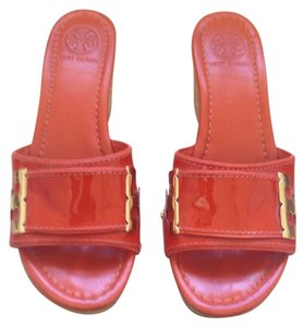 Tory Burch Sandals Heels Orange Wedges