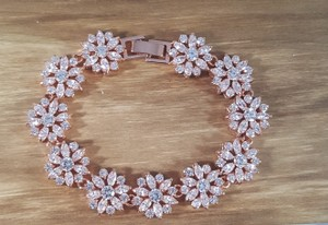 Rose Gold Elegant Brilliant Cz Bracelet