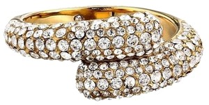 Michael Kors NWT MICHAEL KORS MKJ3680 BRILLIANCE STATEMENT RING GOLD TONE CRYSTAL PAVE Size 7