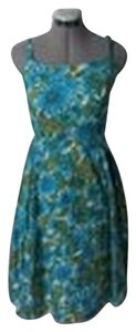 Talbots short dress Green and Blue Floral Tea Length A-line on Tradesy
