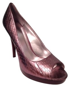 Calvin Klein Snakeskin Platform Metallic Purple Pumps
