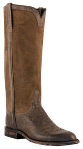Lucchese Suede Leather Riding Cowboy Olive Brown Boots