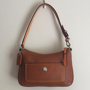 Coach Silver Hardware Brown Leather Hobo Bag