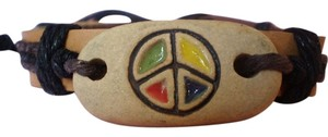 New Boho Leather Peace Sign Bracelet